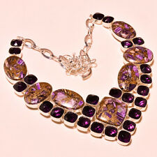 """COPPER RUSSIAN CHAROITE & AFRICAN AMETHYST SILVER GEMSTONE JEWELRY NECKLACE 18"""""""