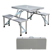 New Outdoor Portable Folding Aluminum Picnic Table 4 Seats Chairs Camping w/Case