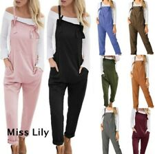 UK Women Cotton Linen Jumpsuit Dungarees Ladies Loose Playsuit Overalls Trousers