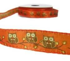 """2 Yds Orange Brown Owl Satin Wired Ribbon 7/8""""W"""