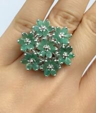 Solid .925 Silver Big Flower Cluster Ring,Natural Emerald. Size 7.75. 12.65Grams
