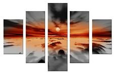 - Storm - Grey Orange 5p 115x80cm wall art canvas print artwork home living room