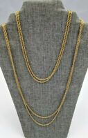 """Vintage MONET Super Long Double Strand Gold-tone Rope Chain 54"""""""