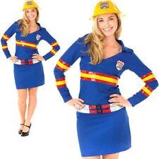 Firegirl Ladies Fancy Dress Fire Fighter Uniform Hen Womens Outfit + Hat