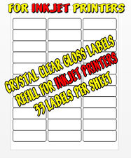 1 PAGE pk (33) CLEAR REFILL LABELS FOR ABC NAME BADGE KITS FOR INKJET PRINTERS
