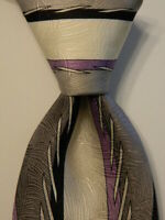 VITALIANO PANCALDI Mens 100% Silk Necktie ITALY Luxury Geometric Blue/Purple GUC