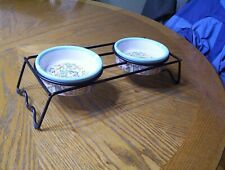 Signature Housewares Cat Town Ceramic 2 Cat Bowls Dishes for Food Water w/Stand