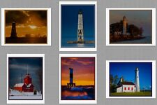 6 Michigan Lighthouse Blank Art Note Greeting Photo Cards