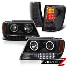 For Jeep 99-04 GRAND CHEROKEE WJ BLACK PROJECTOR HEADLIGHT+LED TAIL BRAKE LIGHT