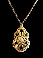 FABULOUS CROWN TRIFARI GOLD-TONE NECKLACE OPEN WORK LARGE MOGHUL INDIA PENDANT