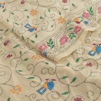 Sanskriti Vintage Cream Woolen Shawl Hand Embroidered Long Stole Soft Scarf