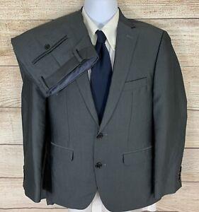 APT.9 men extra slim fit gray herringbone 2 piece flat front suit size 38S 30x30