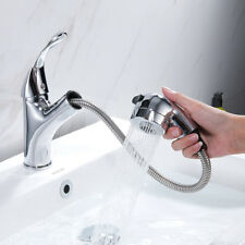 Bathroom / Kitchen Sink Taps Pull Out Spray Basin Mixer Tap Chrome Mono Faucet
