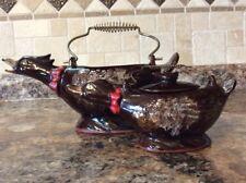 1950s Brown Drip Glaze Redware Pottery Duck/Goose Figural Tea Pot/Sugar Bowl