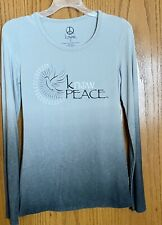 know apparel gray Peace long sleeve tee shirt XS organic cotton, bamboo stretch