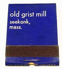 OLD GRIST MILL Seekonk MA RESTAURANT Vintage MATCHBOOK 1940's Great Quality