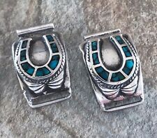 Native Turquoise Horseshoe Watch Tips Sterling Silver 925