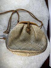 Vintage Neiman Marcus Handbag Woven Bamboo Purse Cream Tan