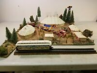 Custom Detailed HO Scale Train Layout Circus Diorama: Tents, Wagons, Figures +++