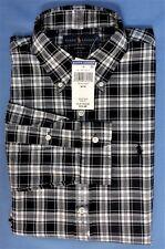 New Mens Polo Ralph Lauren Med Long Sleeve Cotton Black Checkered LS Medium 35''