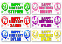 2 x PERSONALISED BIRTHDAY BANNERS -ANY NAME ANY AGE 1st 18th 21st 30th 40th