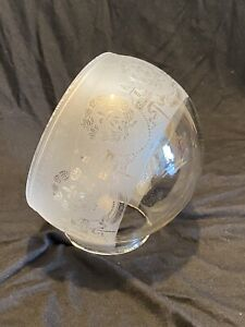 RARE ANGLE LAMP GLASS OIL LAMP ELBOW CHIMNEY GLOBE SHADE - ETCHED WREATH TORCHES