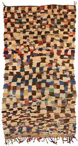 Moroccan Rug in Cream, Brown, Red, Purple, Green, Yellow, and Blue BB5133