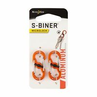 Nite Ize S-Biner MicroLock Aluminum Orange Locking Dual-Gated Carabiner (2-Pack)
