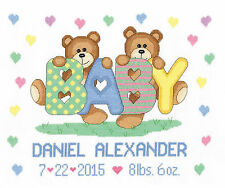 Cross Stitch Kit ~ Janlynn Teddy Baby Pastel Birth Announcement #021-1785