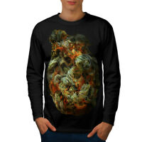 Wellcoda Smelly Weed Bud Rasta Mens Long Sleeve T-shirt, Smoke Graphic Design
