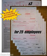 2016 IRS Tax Form W-2 Wage Stmts:: 6-part LASER - for 25 employees + 3 Form W-3