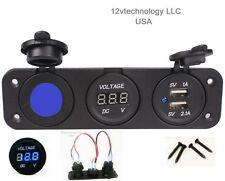 Triple USB Charger + Blue Voltmeter + 12V LED Socket Panel Marine Outlet Jumpers