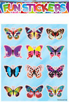6 Butterfly Sticker Sheets - Pinata Toy Loot/Party Bag Fillers Wedding/Kids