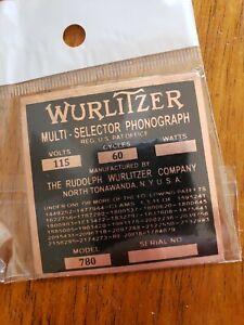 COPPER Wurlitzer MODEL 780 Jukebox I.D. Tag
