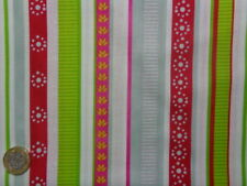 Fat quarter novelty funky fabric spot stripes red blue pink green yellow white