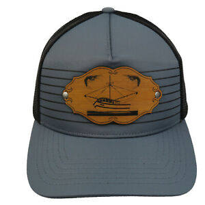 Vintage Shrimp Boat Leather Patch Truckers Snap Back Mesh Cap Fishing Fish