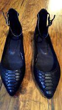 NEW JOIE 'TEMPLE' Black Croc-embossed Ankle Strap Ballet Flats Shoes size 7