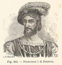 B2077 Francesco I di Francia - Ritratto - Incisione antica del 1926 - Engraving