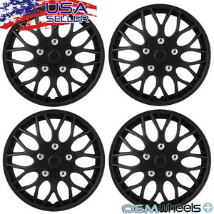 """4 New OEM Matte Black 15"""" Hubcaps Fits Buick Car SUV Center Wheel Covers Set"""