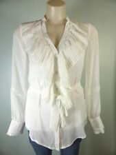 GRACE HILL vintage style Cream *NEW* wrap belt ruffle blouse shirt $79.99 10