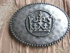 LARGE VINTAGE OVAL HAMMERED PEWTER BELT BUCKLE MADE IN ITALY #5337 ASIAN CELTIC