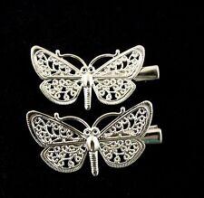 2 little filagree style butterfly hair beaks 4.5 cm