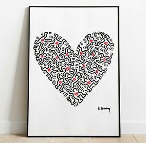 Keith Haring Wall Art, Keith Haring Heart, Wall Art, Pop Art, Home Decor