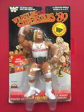 "WWF WWE LJN Vintage 8"" Hulk Hogan white shirt black card action figure RARE MOC"