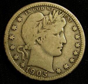 1905-O 25C Barber Liberty Head Silver Quarter AN9