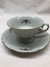 Wawel China Made in Poland Cup and Saucer Small Flowers Gold Trim