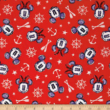 Disney Mickey And Minnie Nautical Aye Aye Red 100% Cotton Fabric by the Yard