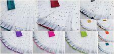mirror work linen saree banglori silk blouse wedding indian pakistani sari blous