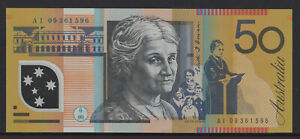Stevens / Henry 2009 : General Prefix AI09 $50 Australian Polymer Banknote, Unc.