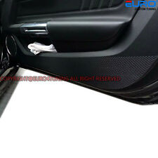 Black Carbon Fiber Door Shield Cover Sticker Kick Protector for 15+ Ford Mustang